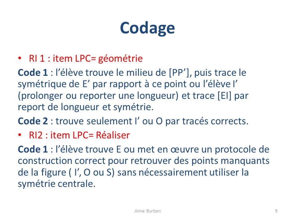 Codage RI 1 : item LPC= géométrie Code 1 : lélève trouve le milieu de [PP], puis trace le symétrique de E par rapport à ce point ou lélève I (prolonge