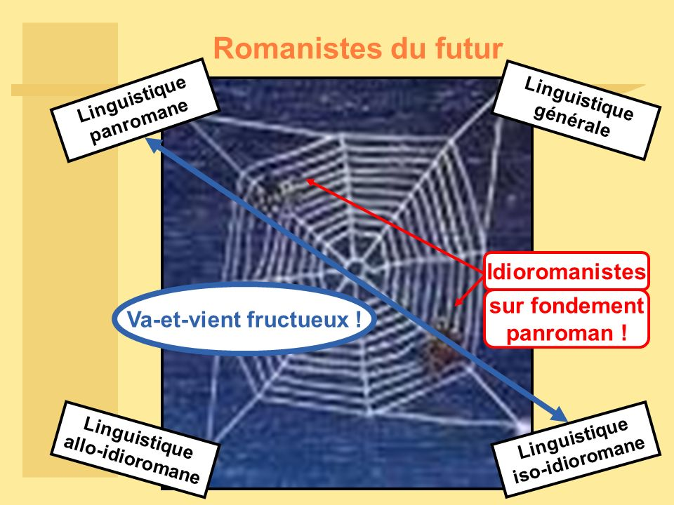 Romanistes du futur Linguistique panromane Linguistique iso-idioromane Linguistique allo-idioromane Linguistique générale Va-et-vient fructueux .