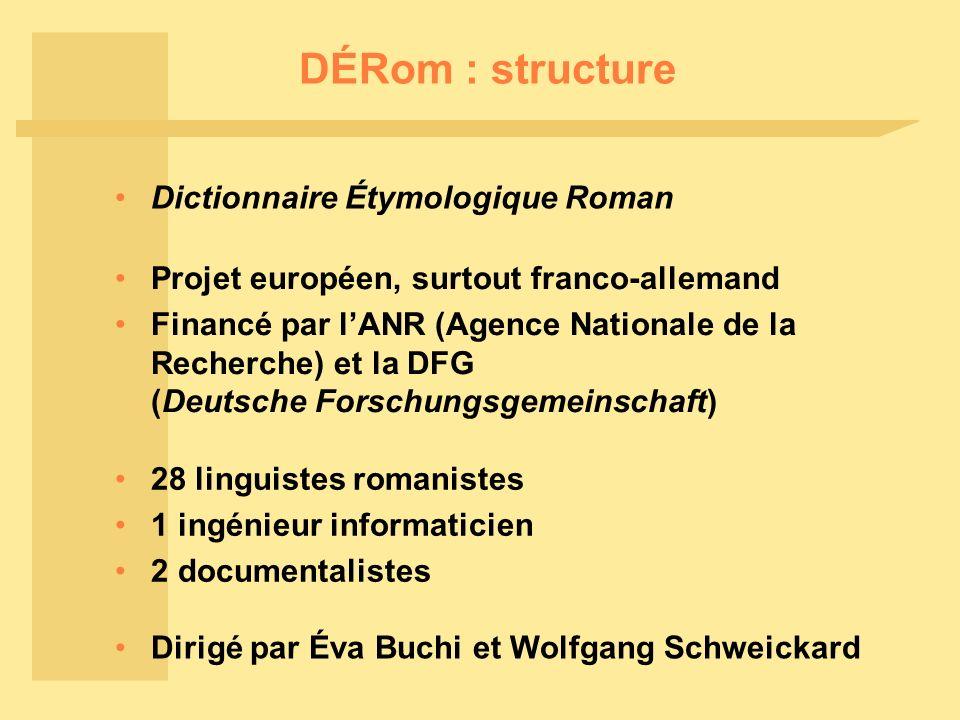 DÉRom : structure Projet européen, surtout franco-allemand Financé par lANR (Agence Nationale de la Recherche) et la DFG (Deutsche Forschungsgemeinsch