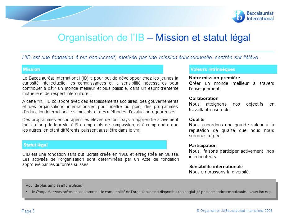 © Organisation du Baccalauréat International 2008 Page 4 En quoi consiste le profil de lapprenant de lIB .