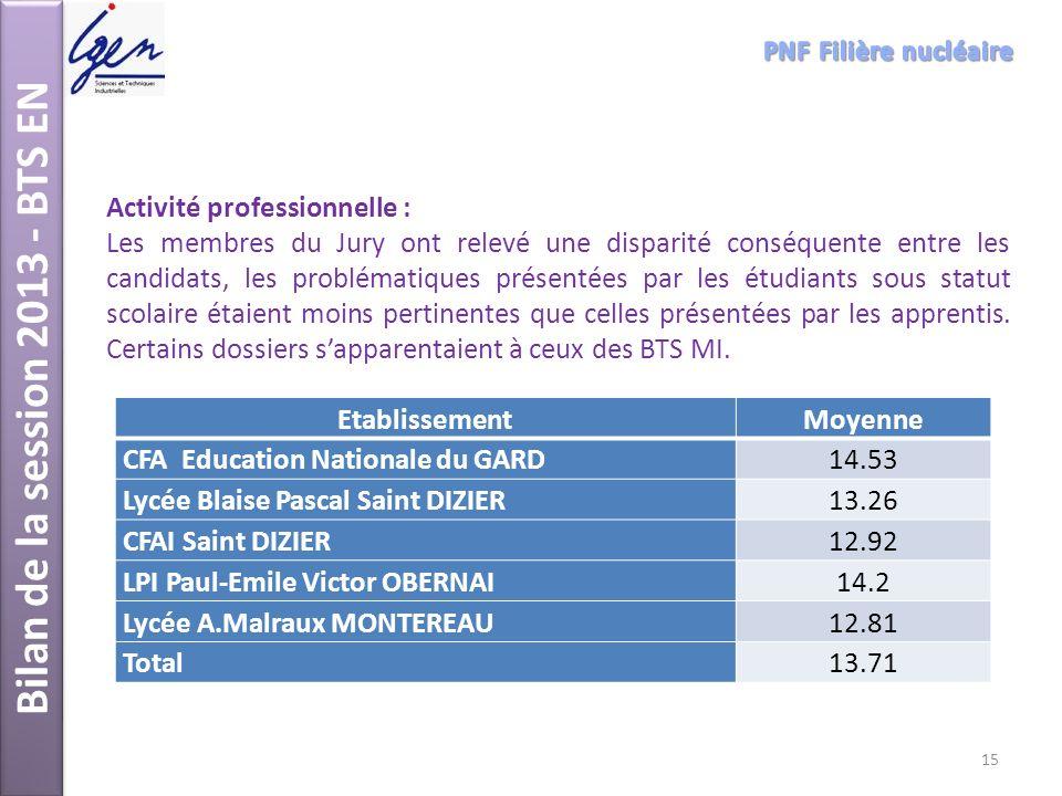 Bilan de la session 2013 - BTS EN Activité professionnelle : Les membres du Jury ont relevé une disparité conséquente entre les candidats, les problém