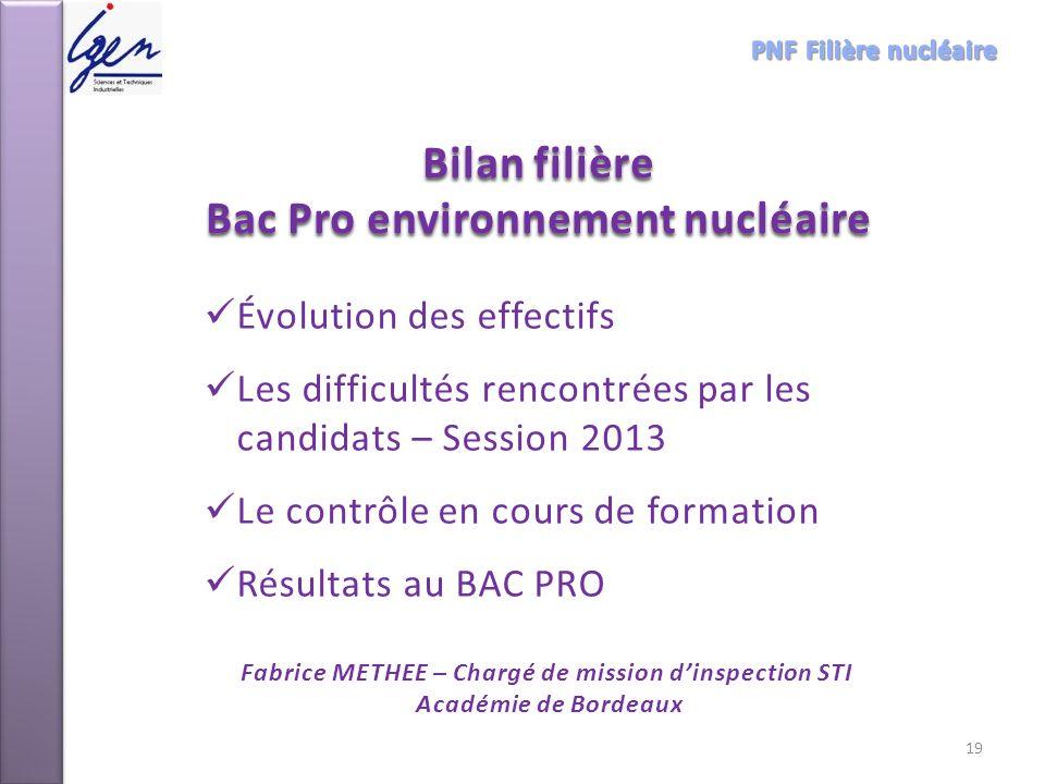 Bilan filière Bac Pro environnement nucléaire Fabrice METHEE – Chargé de mission dinspection STI Académie de Bordeaux Évolution des effectifs Les diff