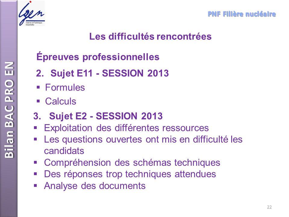 3. Sujet E2 - SESSION 2013 Exploitation des différentes ressources Les questions ouvertes ont mis en difficulté les candidats Compréhension des schéma