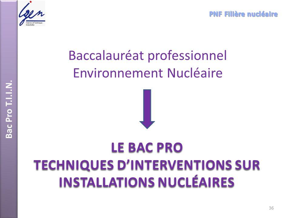 Bac Pro T.I.I.N. LE BAC PRO TECHNIQUES DINTERVENTIONS SUR INSTALLATIONS NUCLÉAIRES Baccalauréat professionnel Environnement Nucléaire 36