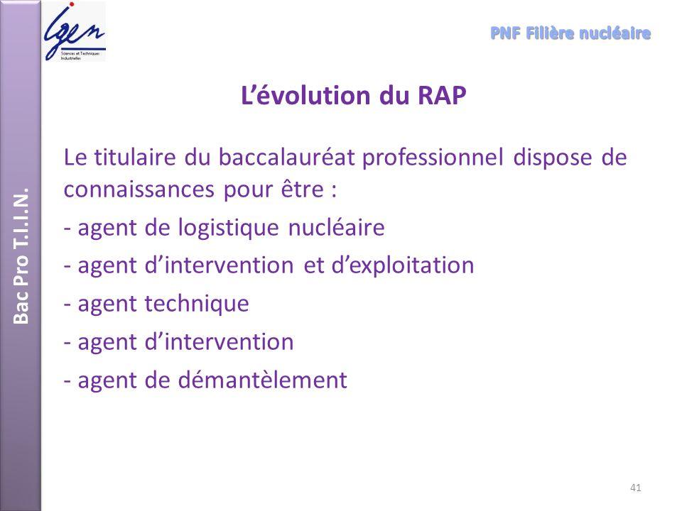 Bac Pro T.I.I.N. Lévolution du RAP Le titulaire du baccalauréat professionnel dispose de connaissances pour être : - agent de logistique nucléaire - a