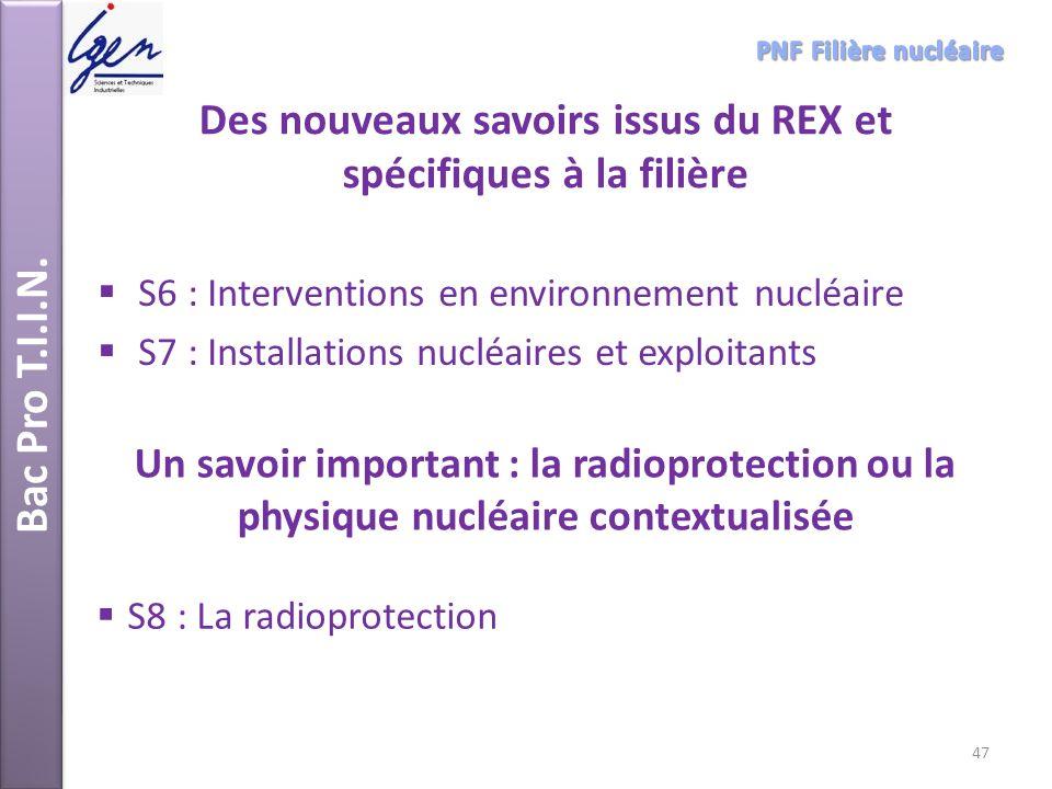 Bac Pro T.I.I.N. Des nouveaux savoirs issus du REX et spécifiques à la filière S6 : Interventions en environnement nucléaire S7 : Installations nucléa