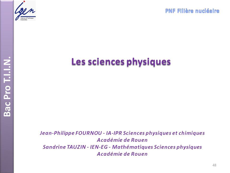 Bac Pro T.I.I.N. Les sciences physiques Jean-Philippe FOURNOU - IA-IPR Sciences physiques et chimiques Académie de Rouen Sandrine TAUZIN - IEN-EG - Ma