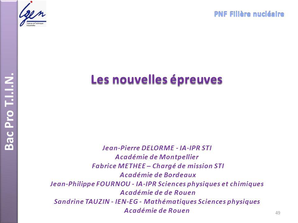 Bac Pro T.I.I.N. Les nouvelles épreuves Jean-Pierre DELORME - IA-IPR STI Académie de Montpellier Fabrice METHEE – Chargé de mission STI Académie de Bo