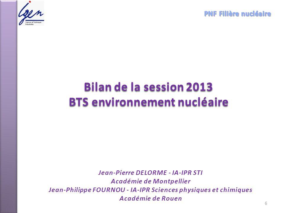 Bilan de la session 2013 BTS environnement nucléaire Jean-Pierre DELORME - IA-IPR STI Académie de Montpellier Jean-Philippe FOURNOU - IA-IPR Sciences