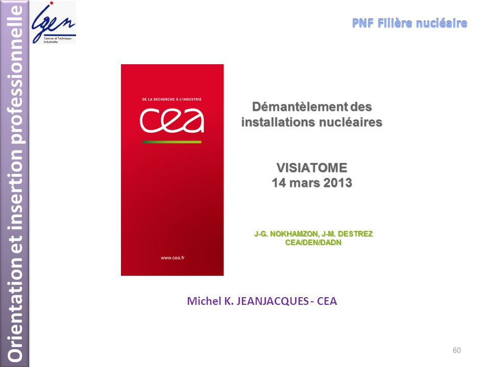 Orientation et insertion professionnelle Michel K. JEANJACQUES - CEA 60