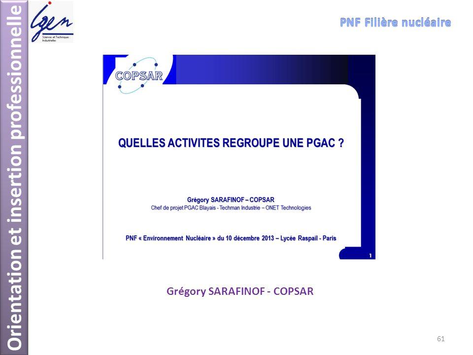 Orientation et insertion professionnelle Grégory SARAFINOF - COPSAR 61