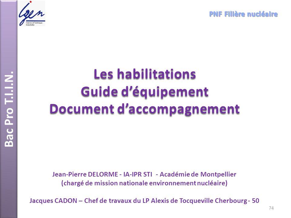 Bac Pro T.I.I.N. Les habilitations Guide déquipement Document daccompagnement Jean-Pierre DELORME - IA-IPR STI - Académie de Montpellier (chargé de mi
