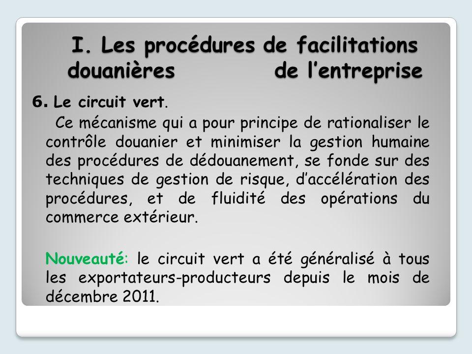 I.Les procédures de facilitations douanières de lentreprise 6.