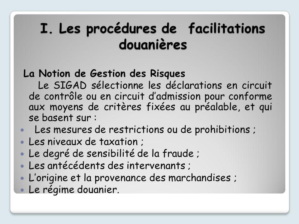 I. Les procédures de facilitations douanières La Notion de Gestion des Risques Le SIGAD sélectionne les déclarations en circuit de contrôle ou en circ
