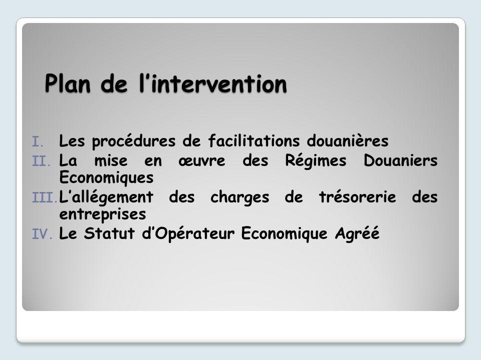 Plan de lintervention I.Les procédures de facilitations douanières II.