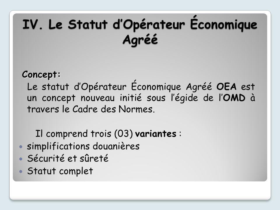 Concept: Le statut dOpérateur Économique Agréé OEA est un concept nouveau initié sous légide de lOMD à travers le Cadre des Normes.