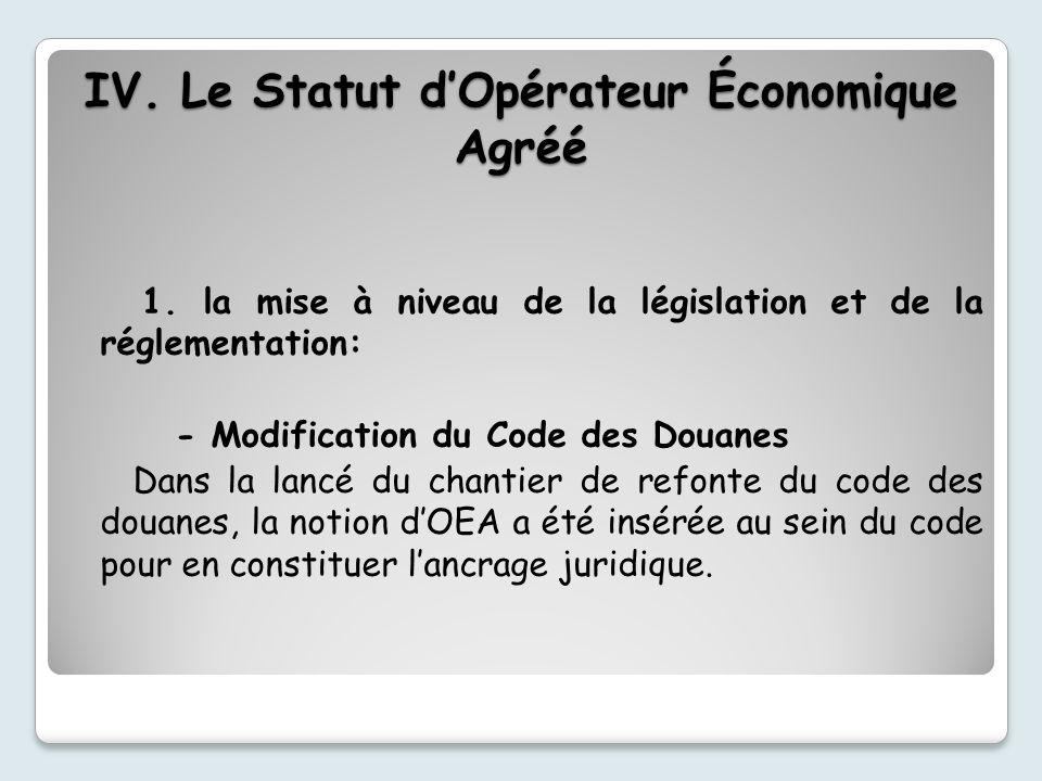 1. la mise à niveau de la législation et de la réglementation: - Modification du Code des Douanes Dans la lancé du chantier de refonte du code des dou