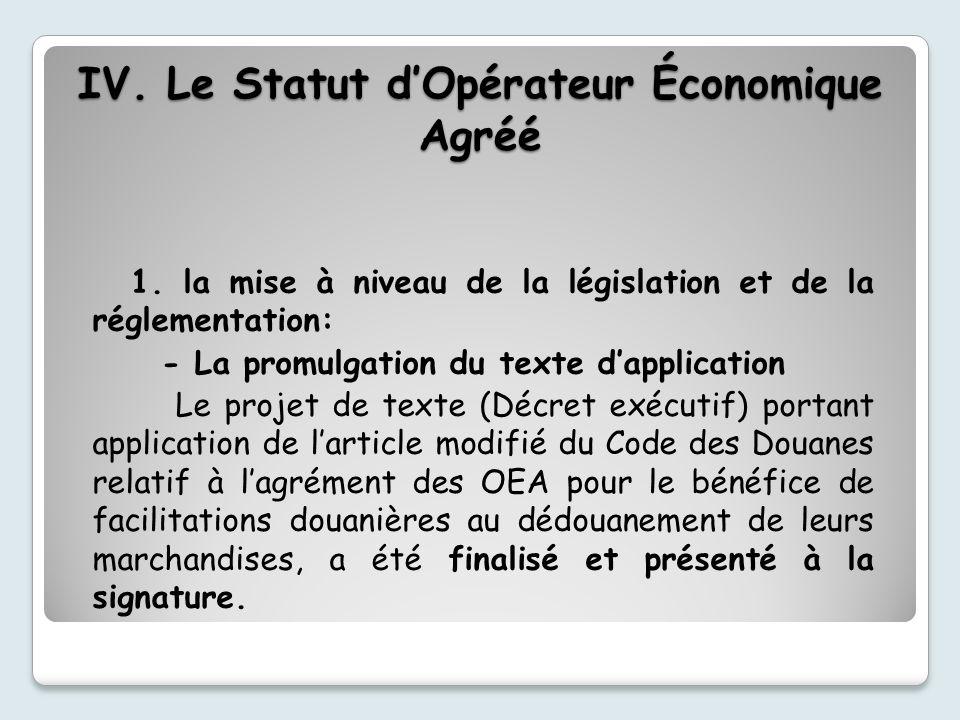 1. la mise à niveau de la législation et de la réglementation: - La promulgation du texte dapplication Le projet de texte (Décret exécutif) portant ap