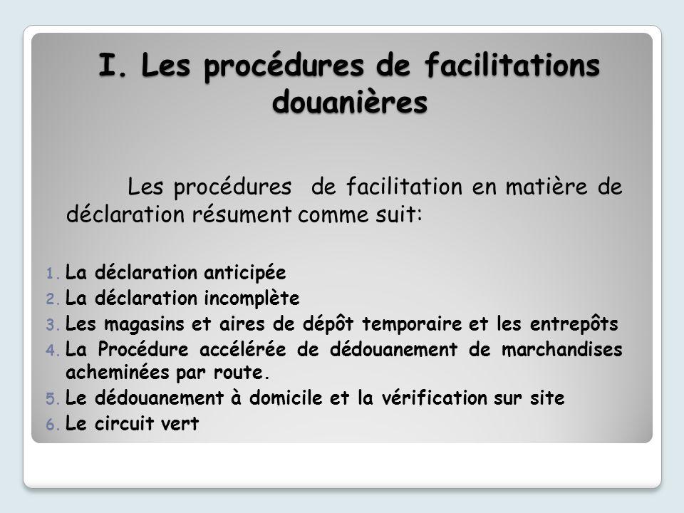 I. Les procédures de facilitations douanières Les procédures de facilitation en matière de déclaration résument comme suit: 1. La déclaration anticipé