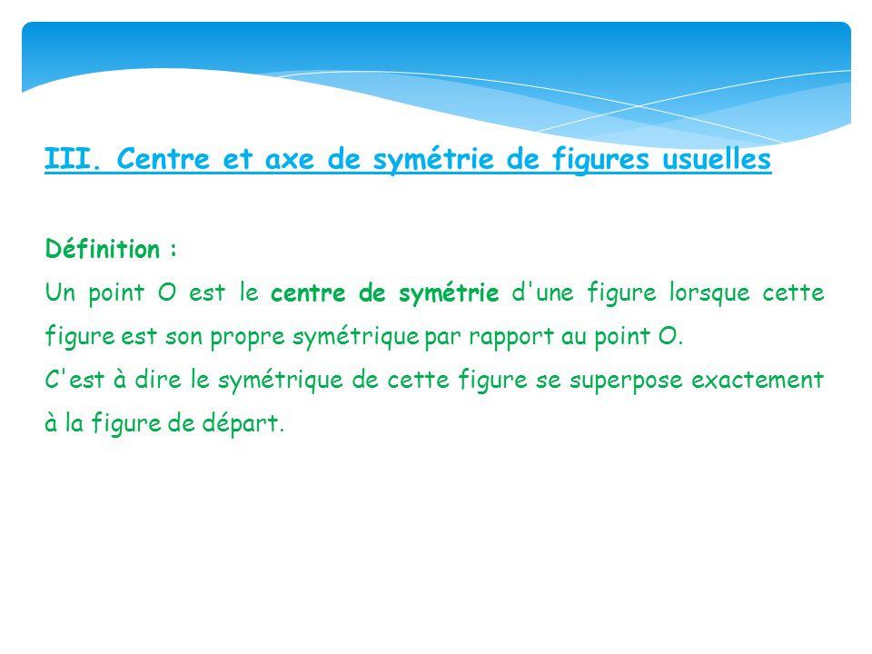 III. Centre et axe de symétrie de figures usuelles Définition : Un point O est le centre de symétrie d'une figure lorsque cette figure est son propre