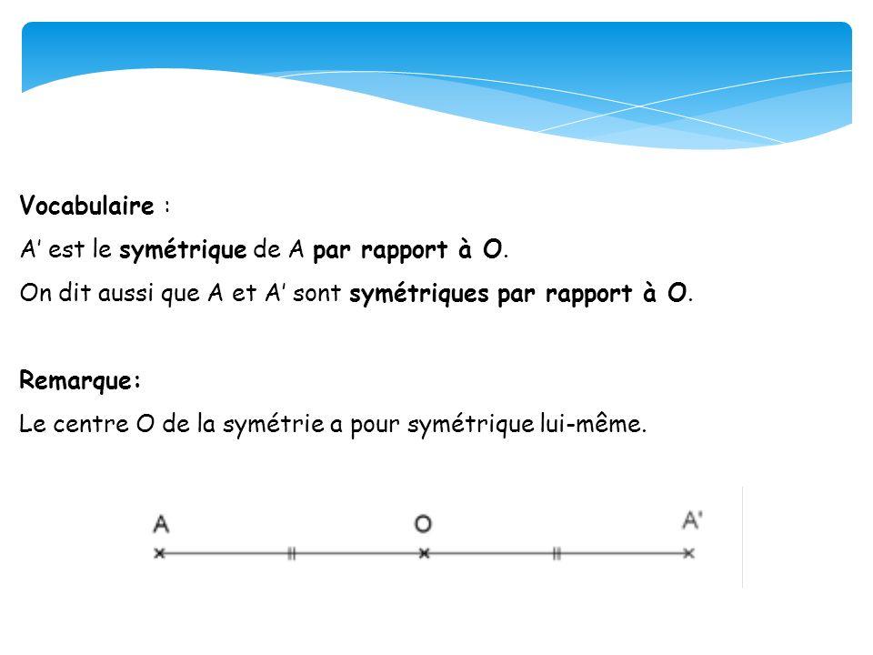 Vocabulaire : A est le symétrique de A par rapport à O. On dit aussi que A et A sont symétriques par rapport à O. Remarque: Le centre O de la symétrie