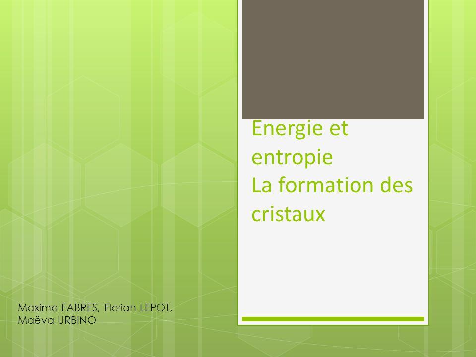 Energie et entropie La formation des cristaux Maxime FABRES, Florian LEPOT, Maëva URBINO