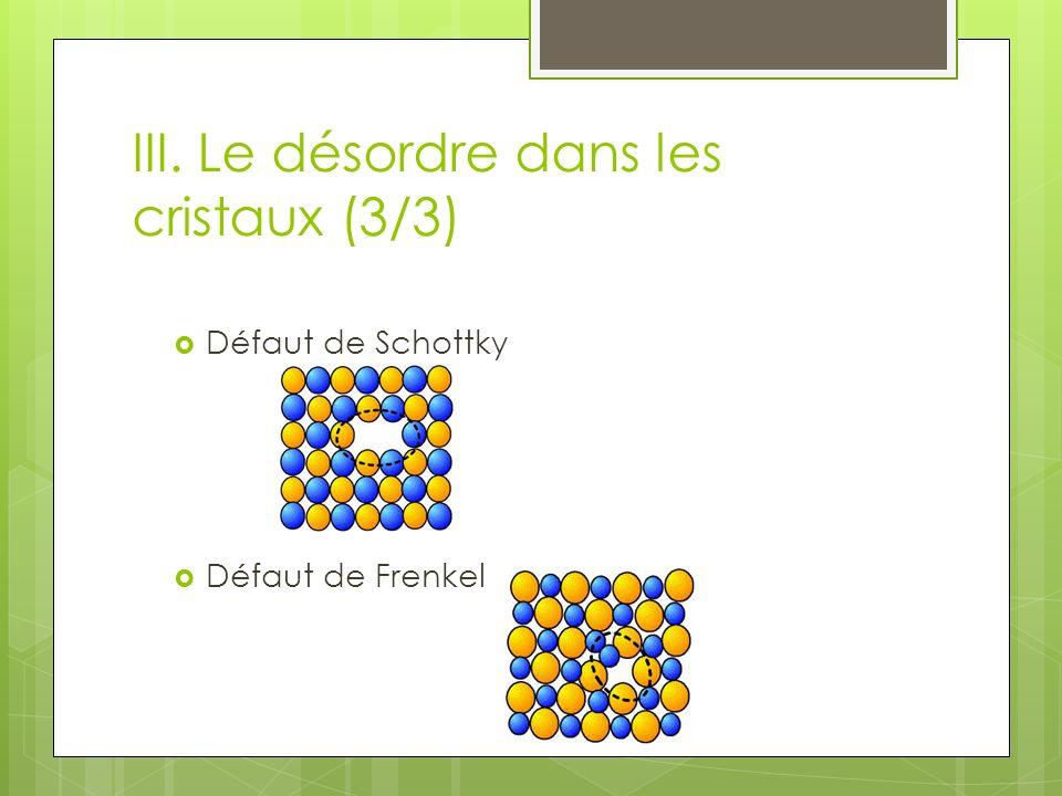 III. Le désordre dans les cristaux (3/3) Défaut de Schottky Défaut de Frenkel