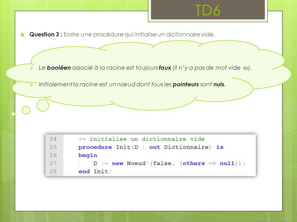 TD6 Question 3 : Ecrire une procédure qui initialise un dictionnaire vide.