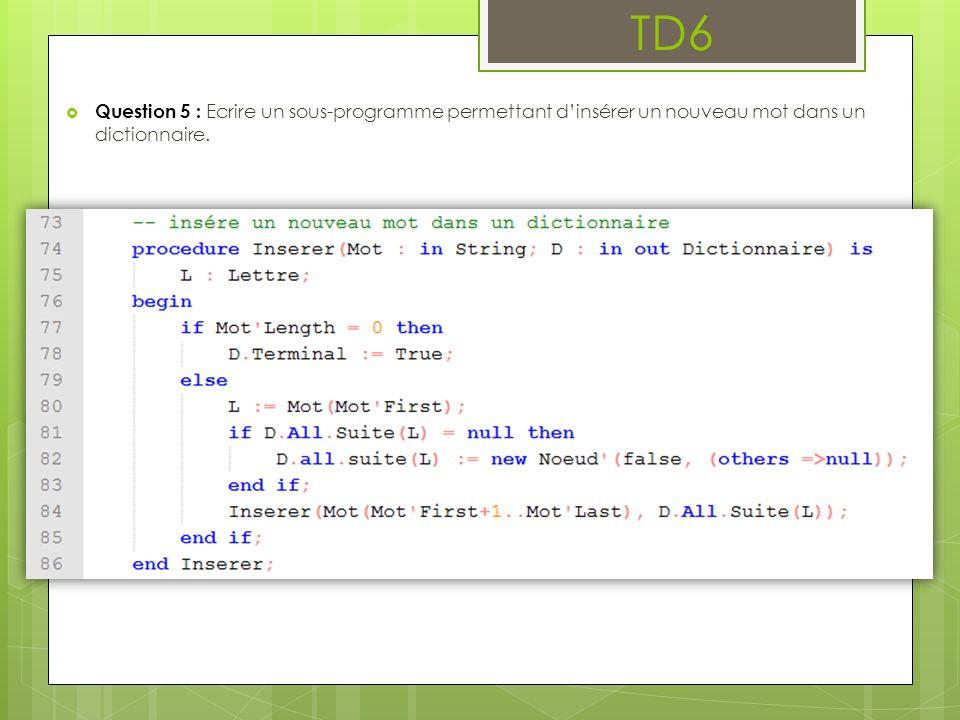 TD6 Question 5 : Ecrire un sous-programme permettant dinsérer un nouveau mot dans un dictionnaire.