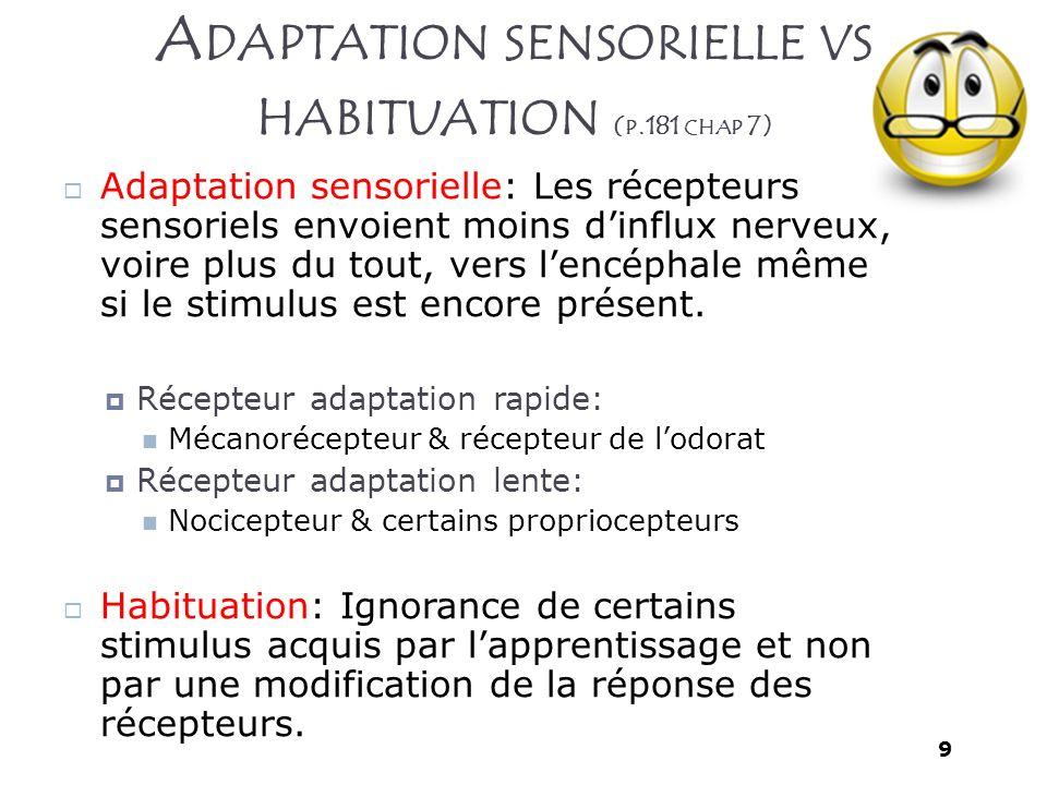 9 A DAPTATION SENSORIELLE VS HABITUATION ( P.181 CHAP 7) Adaptation sensorielle: Les récepteurs sensoriels envoient moins dinflux nerveux, voire plus