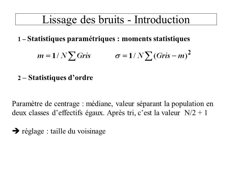 Lissage des bruits - Introduction 1 – Statistiques paramétriques : moments statistiques 2 – Statistiques dordre Paramètre de centrage : médiane, valeur séparant la population en deux classes deffectifs égaux.