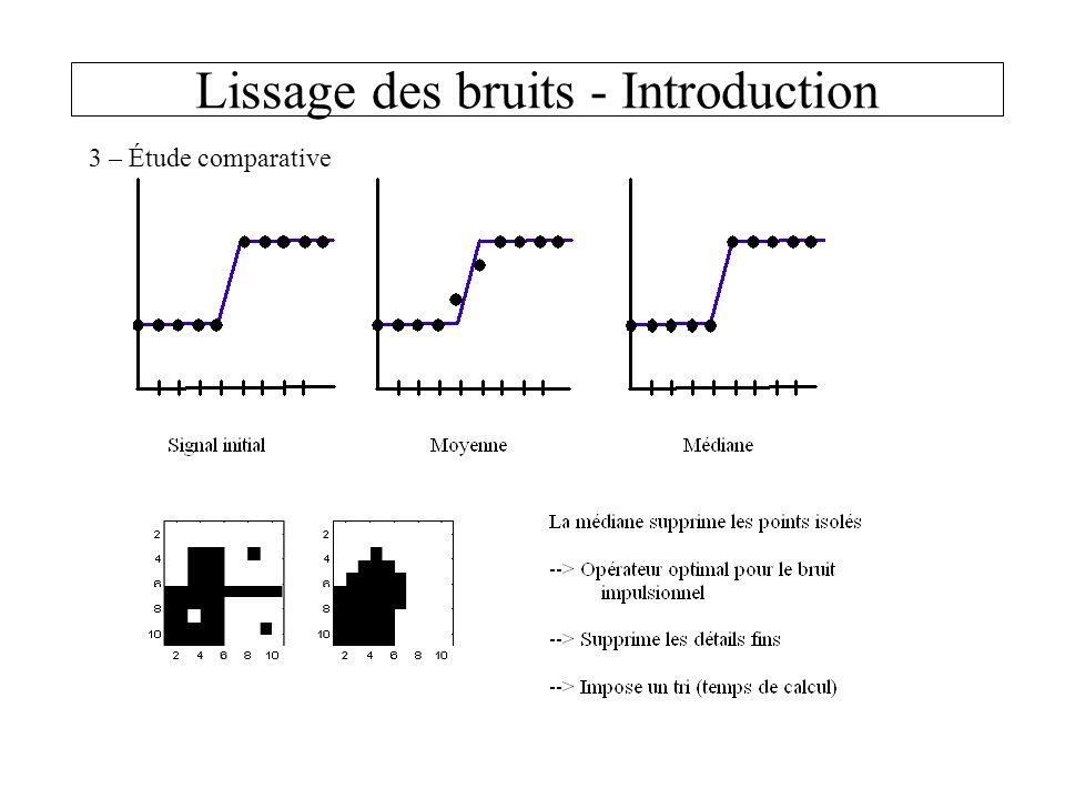 Lissage des bruits - Introduction 3 – Étude comparative