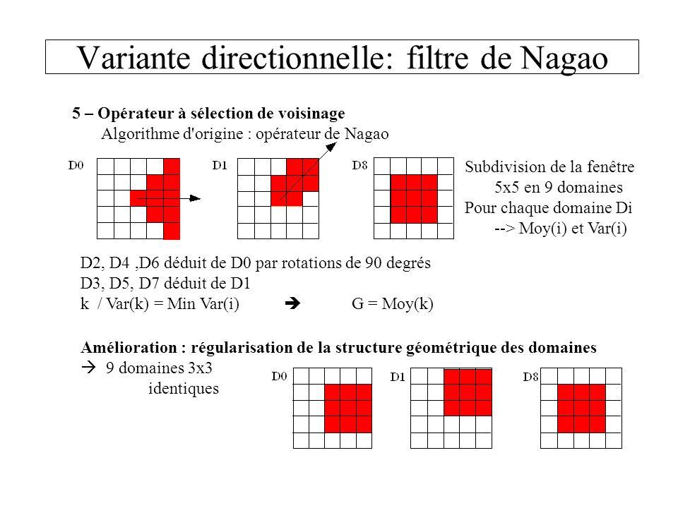 Variante directionnelle: filtre de Nagao 5 – Opérateur à sélection de voisinage Algorithme d'origine : opérateur de Nagao D2, D4,D6 déduit de D0 par r