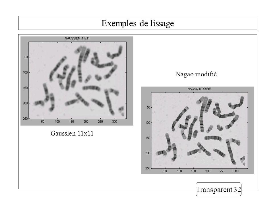 Exemples de lissage Transparent 32 Gaussien 11x11 Nagao modifié