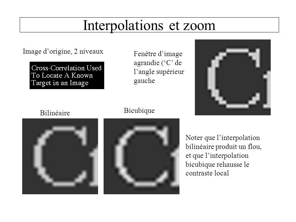 Interpolations et zoom Image dorigine, 2 niveaux Fenêtre dimage agrandie (C de langle supérieur gauche Bilinéaire Bicubique Noter que linterpolation bilinéaire produit un flou, et que linterpolation bicubique rehausse le contraste local