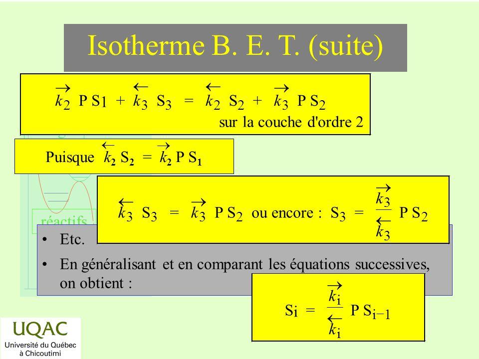 réactifs produits énergie temps Etc. En généralisant et en comparant les équations successives, on obtient : k 2 P S 1 + k 3 S 3 = k 2 S 2 + k 3 P S 2