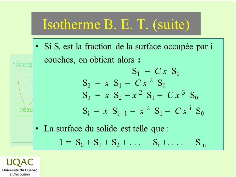réactifs produits énergie temps Si S i est la fraction de la surface occupée par i couches, on obtient alors : S 1 = C x S 0 S 2 = x S 1 = C x 2 S 0 S 3 = x S 2 = x 2 S 1 = C x 3 S 0 S i = x S i - 1 = x 2 S 1 = C x i S 0 La surface du solide est telle que : 1 = S 0 + S 1 + S 2 +...