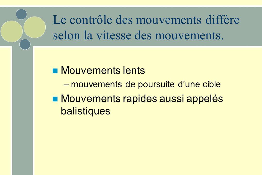 Le contrôle des mouvements diffère selon la vitesse des mouvements. Mouvements lents –mouvements de poursuite dune cible Mouvements rapides aussi appe