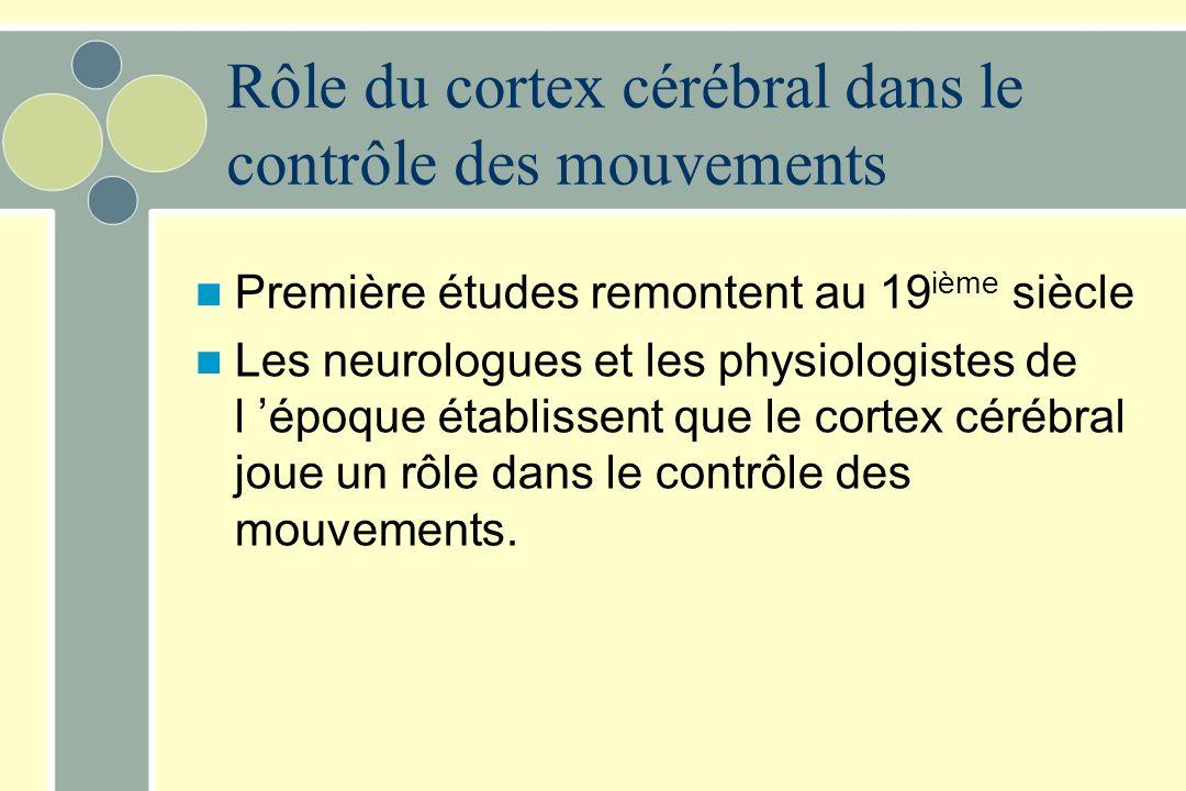 Rôle du cortex cérébral dans le contrôle des mouvements Première études remontent au 19 ième siècle Les neurologues et les physiologistes de l époque établissent que le cortex cérébral joue un rôle dans le contrôle des mouvements.