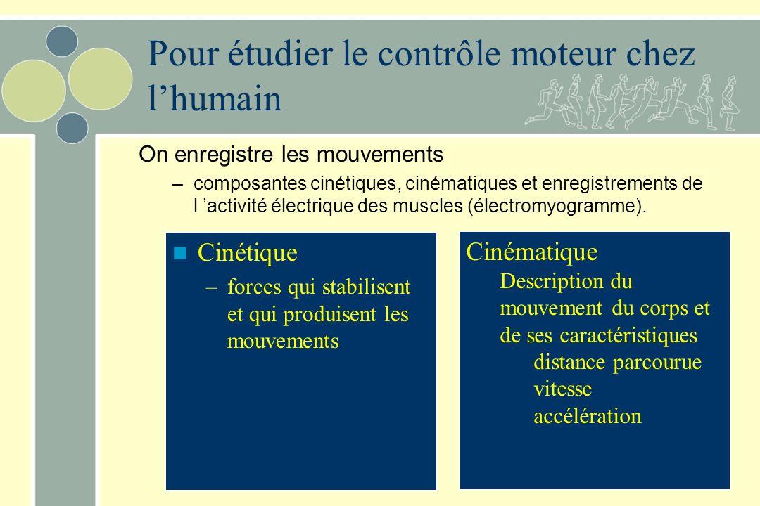 Pour étudier le contrôle moteur chez lhumain On enregistre les mouvements –composantes cinétiques, cinématiques et enregistrements de l activité élect