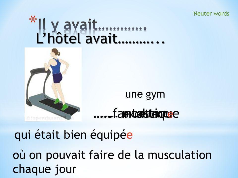 …..fantastique ….. moderne ….. excellente une gym qui était bien équipée Neuter words où on pouvait faire de la musculation chaque jour Lhôtel avait……