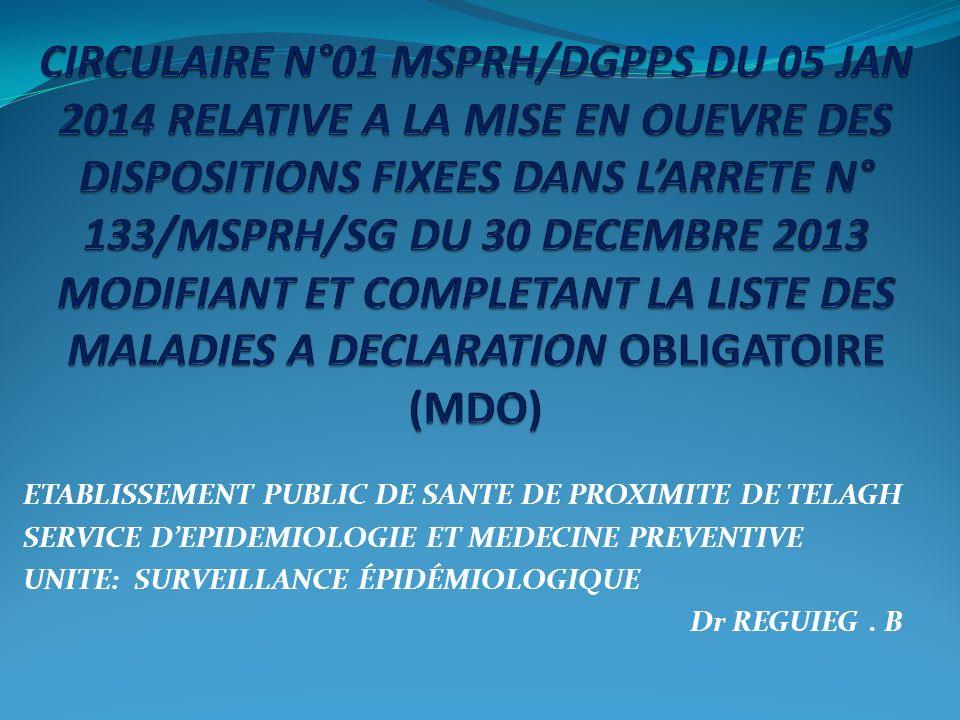 EN APPLICATION DE LA LOI N° 85-05 DU 16 FEVRIER 1985 RELATIVE A LA PROTECTION ET A LA PROMOTION DE LA SANTE, DANS SON ARTICLE 54 CONSACRE A LA DECLARATION IMMEDIATE AUX SERVICES SANITAIRES CONCERNES, SOUS PEINE DE SANCTION, DE TOUTE MALADIE CONTAGIEUSE DIAGNOSTIQUEE; DU DECRET PRESIDENTIEL N° 13-123 DU 04 AOUT 2013 PORTANT PUBLICATION DU REGLEMENT SANITAIRE INTERNATIONAL RSI 2005 QUI STIPULE DANS SON ARTICLE 6 RELATIF A LA NOTIFICATION, QUE CHAQUE PARTIE AU RSI NOTIFIE À LOMS TOUT ÉVÈNEMENT SANITAIRE SURVENU SUR SON TERRITOIRE POUVANT CONSTITUER UNE URGENCE DE SANTE PUBLIQUE DE PORTEE INTERNATIONALE;