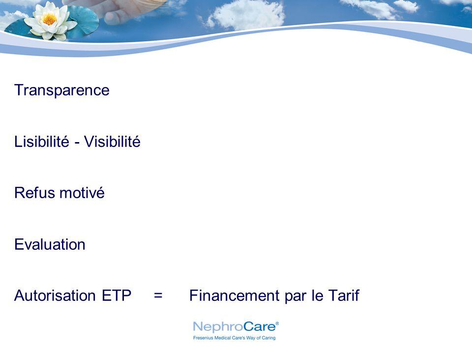 Transparence Lisibilité - Visibilité Refus motivé Evaluation Autorisation ETP = Financement par le Tarif