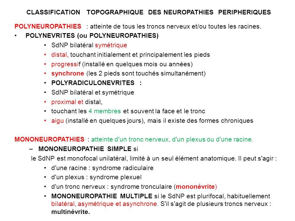 CLASSIFICATION TOPOGRAPHIQUE DES NEUROPATHIES PERIPHERIQUES POLYNEUROPATHIES : atteinte de tous les troncs nerveux et/ou toutes les racines.