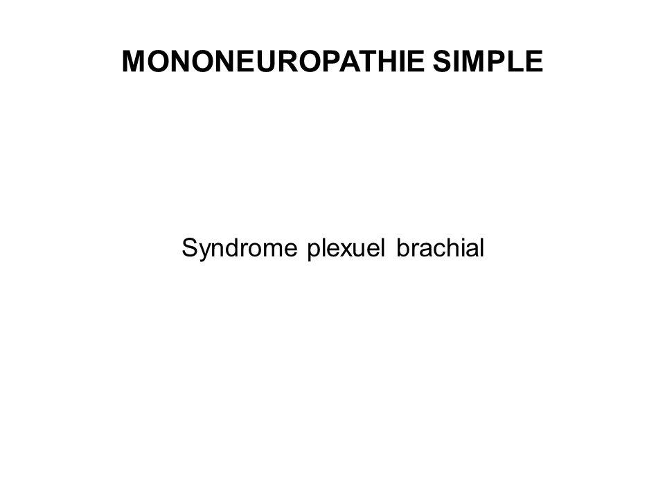 MONONEUROPATHIE SIMPLE Syndrome plexuel brachial