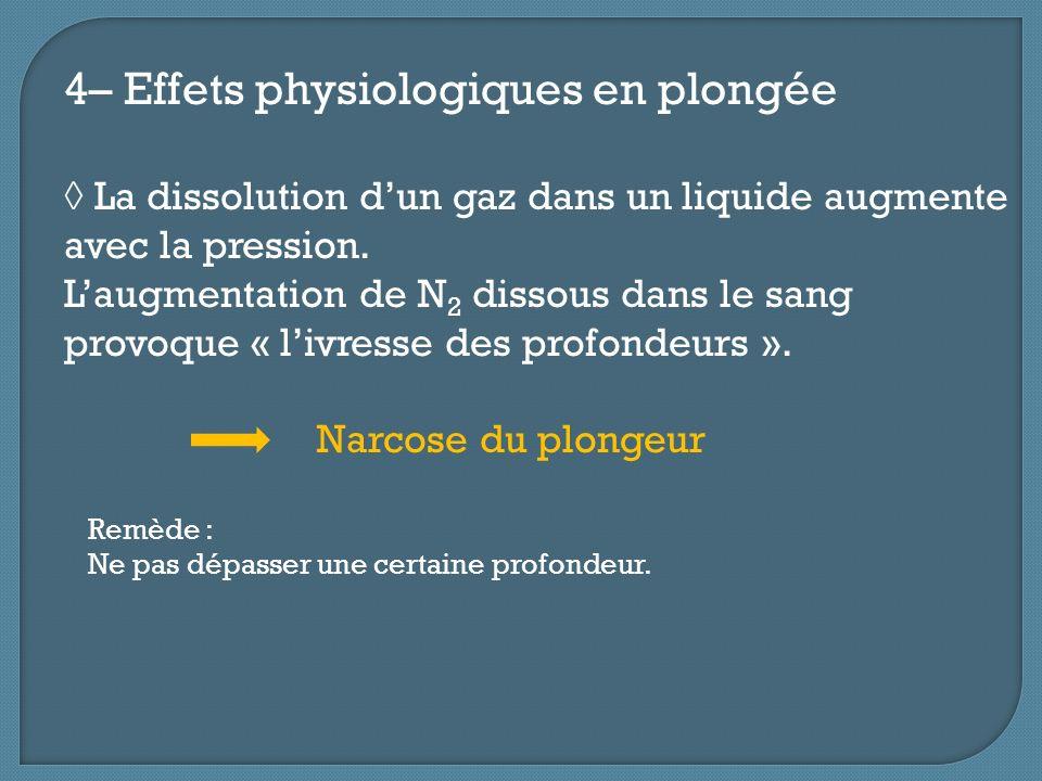 4– Effets physiologiques en plongée La dissolution dun gaz dans un liquide augmente avec la pression. Laugmentation de N 2 dissous dans le sang provoq