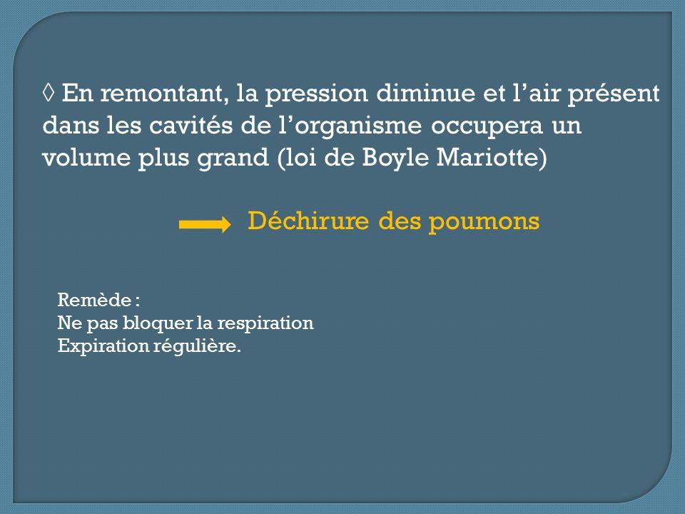 En remontant, la pression diminue et lair présent dans les cavités de lorganisme occupera un volume plus grand (loi de Boyle Mariotte) Déchirure des p