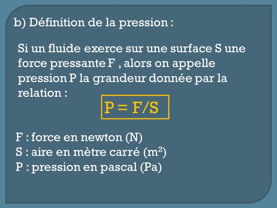 b) Définition de la pression : P = F/S Si un fluide exerce sur une surface S une force pressante F, alors on appelle pression P la grandeur donnée par