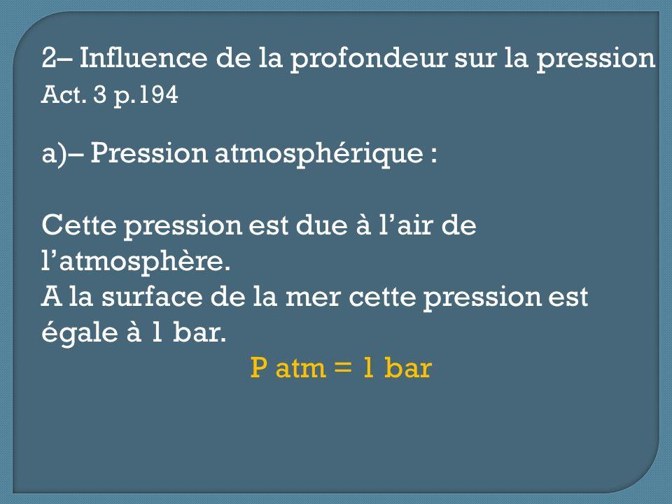 2– Influence de la profondeur sur la pression Act. 3 p.194 a)– Pression atmosphérique : Cette pression est due à lair de latmosphère. A la surface de