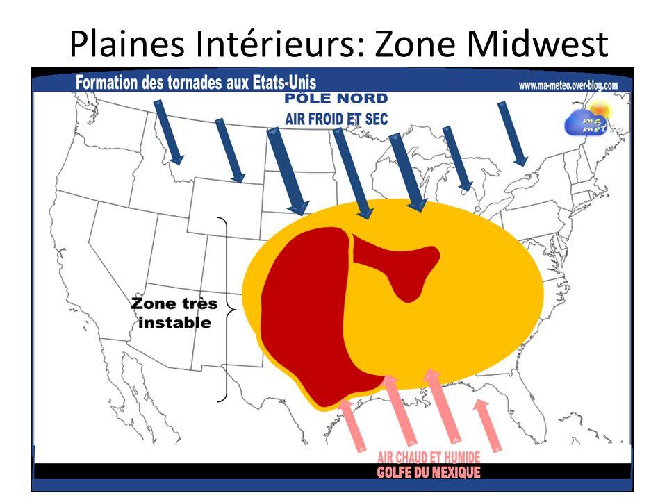 Lorsque laire froide et sec du nord rencontre lair humide et chaud du sud, les tornades se forment Ils sont destructifs et se déplace dans le sens contraire des aiguilles dune montre (peuvent atteindre 650 km/h)